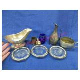 silver plated gravy boat -cameo perfume bottle -