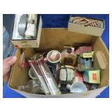box with old hair clipper & barber shop items
