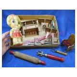 old doll furniture -advertising opener -misc
