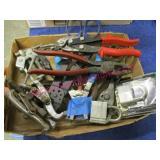 flat of tools (wiss snips-side cuts-master lock)