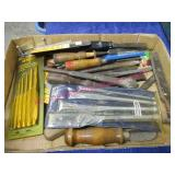 flat of tools (craftsman chisels-punches-etc)