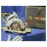 """vintage 6in """"lectro-saw"""" in metal case"""