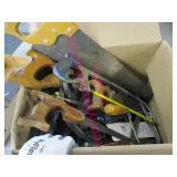 box of various hand saws