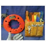 50ft electrical fish tape & tool pouch of tools