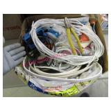 box of misc wiring & yellow handle plyers