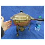 old copper & brass chafing dish - wooden handle