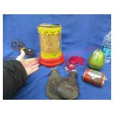 old plastic night light -tobacco pouches -lighter