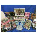 lrg collection of costume jewelry & jewelry boxes