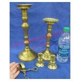 brass candlesticks & candle snuffer