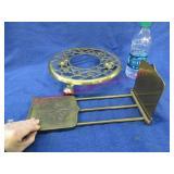 brass book rack (adjustable) -brass rolling trivet