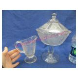 nice old compote with lid & creamer (matching)