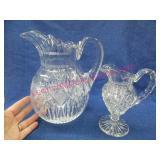 beautiful crystal pitcher & creamer (both damaged)