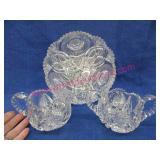 crystal cut glass bowl -cream & sugar set