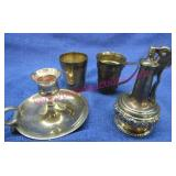old ronson table lighter -2 shot cups -candle
