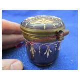 old purple hand painted glass jar - circa 1900