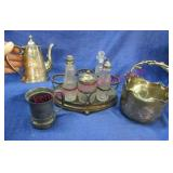 old silver plated items (caster tray-pitcher-etc)