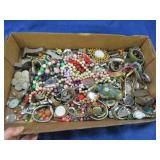 flat of watch parts -costume jewelry & parts -misc