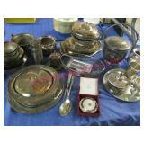 estate lot - silver plated serving pcs (large lot)
