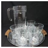 Bar Glasses Pitcher and Serving Tray