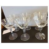 Set of Six Etched Wine Glasses