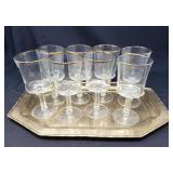 Set of Eight Gold Rimmed Glasses on Brass Tray