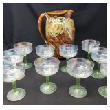 Handcrafted Potter Pitcher & Opalescent Glasses