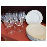 8 Express Fine Chine Plates & 8 Red Wine Glasses