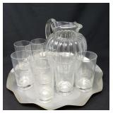 Lemonade/Tea Pitcher,Glasses and Tray