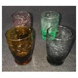 Antique Multi-Colored Etched Cordial Glasses