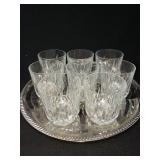Set of Eight Crystal Lowball Glasses and Tray
