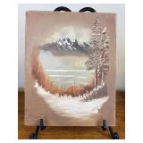 Original Painting on Canvas, Mountain Scene