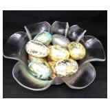 Glass Bowl With Wooden Eggs
