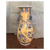 Blue and Yellow Vase with Decorative Plate