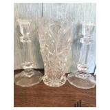 Glass Bud Vase with Candlesticks