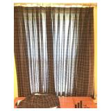 Pair of Green Plaid Curtain Panels