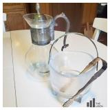 Vintage Glass Carafe and Glass Ice Bucket