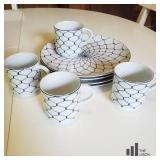 White and Navy Cups and Plates