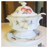 Soup Tureen With Ladle and Serving Plate