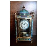 19th Century Champleve Enamel Style Clock