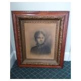 Antique Wooden Framed Original Drawing