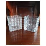 Pair of Square Glass Vases