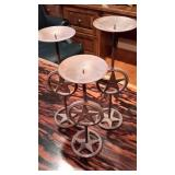 Set of Three Bronze Colored Candle Holders