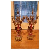 Pair of Brass and Porcelain Candelabras