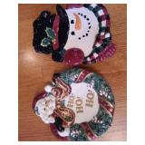 Fitz and Floyd Snowman and Santa Plates