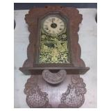 Hand Carved Clock with Gold Tone Embeslishments