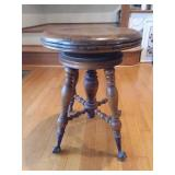 Victorian Claw Foot Glass Ball Piano Stool