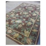 Floral Pattern Wool Blend Area Rug