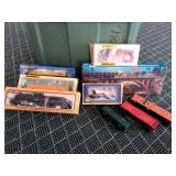 Bin of Assorted Train Cars and Accessories