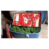 "Artificial holiday Garland & 12"" JOY sign"