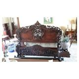 Ornate Wood Carved Bed